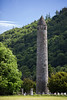 The Round Tower, located in the 'Monastic City', a 6th century settlement first established by St. Kevin in the Glendalough Valley.  Tower is 90 feet tall with entrance door 11 feet above ground for protection from attack.  Glendalough, County Wicklow, Ireland.