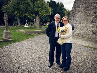 Visiting the cemetery where Jeannette's paternal grandparents are buried.  St. Maelruain's Church, Tallaght, Ireland.