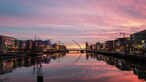 Dublin city sunset with the Samuel Beckett Bridge