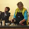 Jane making Irish Coffee, using more whiskey than coffee.