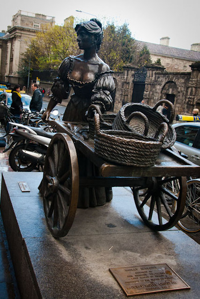 """Dublin - Molly Malone. This statue is known colloquially as """"The Tart With The Cart"""", """"The Dish With The Fish"""", """"The Trollop With The Scallop(s)"""", """"The Dolly With the Trolley"""", and """"The Flirt in the Skirt""""."""