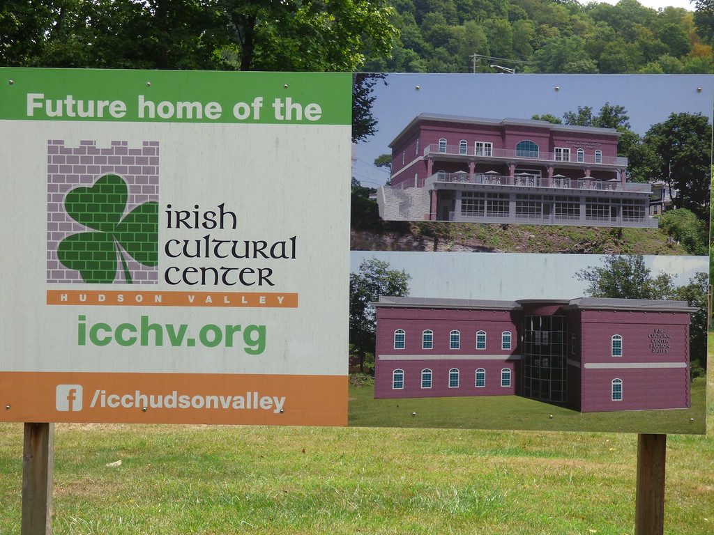 . A sign on the proposed site of the Irish Cultural Center, as seen from Abeel Street, Kingston, N.Y.