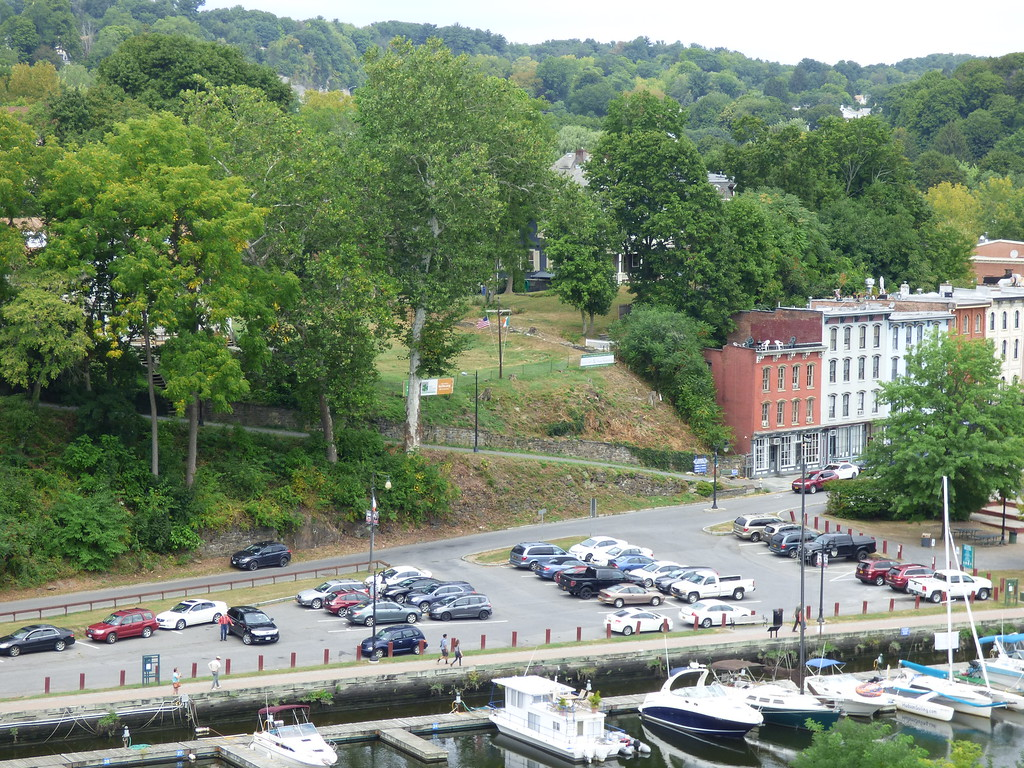 . A view of the proposed site of the Irish Cultural Center, at center, as seen from the Wurts Street Bridge, which crosses the Rondout waterfront from Kingston to the hamlet of Connelly.  West Strand Street can be seen at bottom.