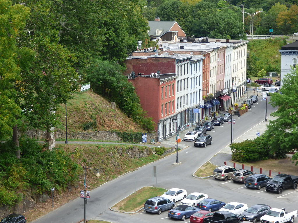 . A view of the proposed site of the Irish Cultural Center, which can be seen at left, above the stone wall, as seen from the Wurts Street Bridge, which crosses the Rondout waterfront from Kingston to the hamlet of Connelly.  West Strand Street can be seen below.