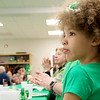 Irish Dancers from Irish American Step Dancers from Leominster performed at the Pilgrim Congregational Church's St. Patrick's Day corned beef and cabbage supper. Watching the dancers is Eva Daigle, 7, from Fitchburg. SENTINEL & ENTERPRISE/JOHN LOVE