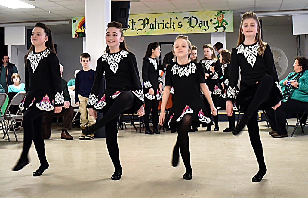 . Junior team members of the Heavey Quinn Irish Dance Troupe, preform at the Irish Cultural Week kick-off Brunch, L-R, Kiera Durkin, Abby Carnevale, Emma Ford Hunt and Abby Reid. SUN/ David H. Brow
