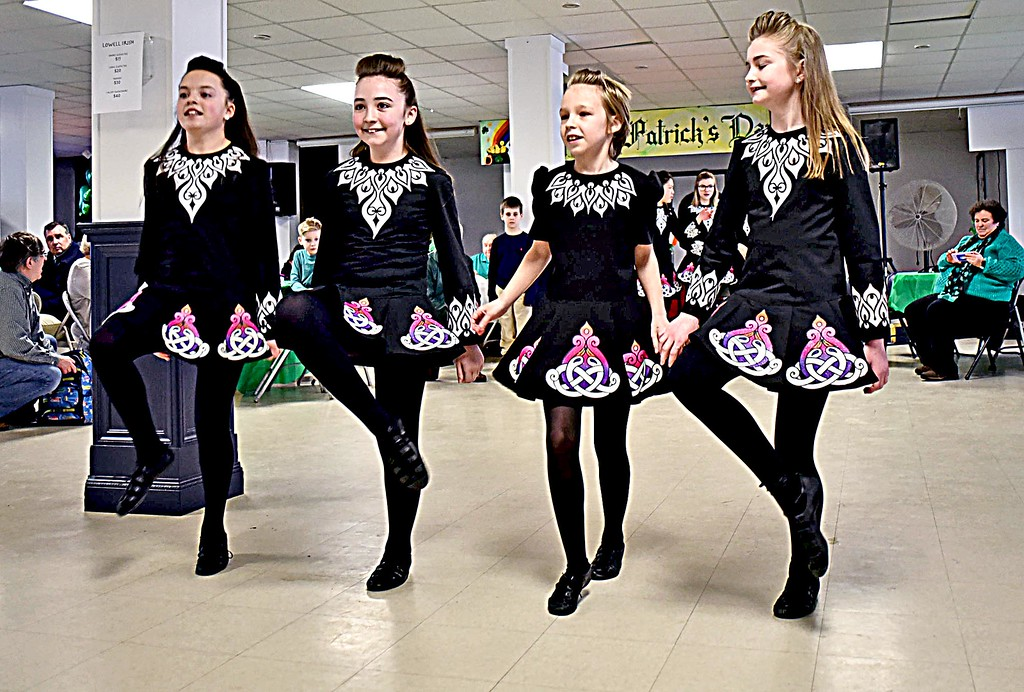 . Preforming at the Irish Cultural Week Kick-Off are Junior members of the Heavey Quinn Irish Dance Troupe, L-R, Kiera Durkin, Abby Carnevale, Emma Ford Hunt and Abby Reid. SUN/ David H. Brow