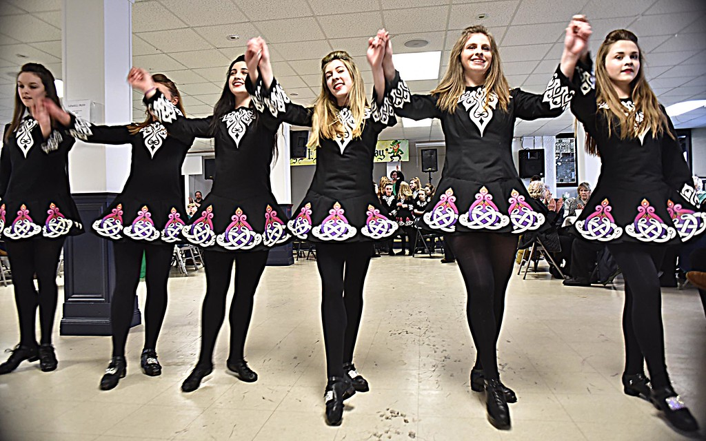 . Taking a bow after preforming at the Irish Cultural Week kick-off at St Patricks Church are senior members of the Heavey Quinn Irish Dance Troupe L-R, Caitlin Connarton, Ella Doble, Gabby Hughes, Lila Stanton, Katherne McMahon and Alyssa O\'Keefe. SUN/ David H. Brow