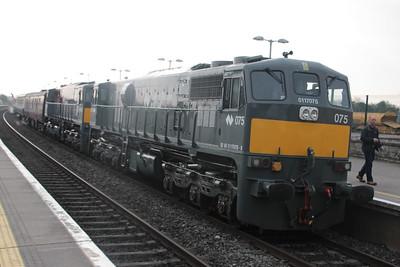 "075 & 082 at head of RPSI's ""West Awake Railtour"" entering  Portarlington on 13.04.19."
