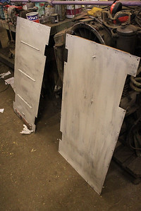 Panels from inside of Doors wire wheeled and primed on 23.02.13.