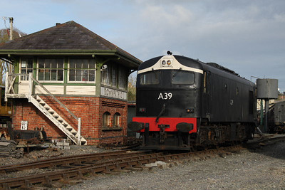 A39 running around the service train at Downpartrick on 17.03.12.