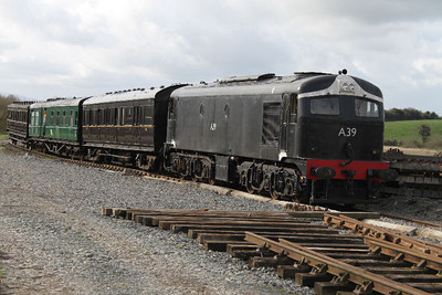 A39 on service train approaching Downpatrick Station on 17.03.12.