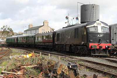 A39 on service train at Downpatrick Station on 17.03.12.