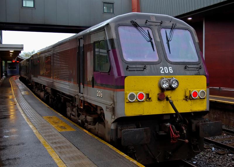 206 Abhainn na Life, Belfast Central, Thurs 7 May 2009 - 1959 .  The Irish Rail loco waits to propel the 2010 Belfast - Dublin Enterprise.