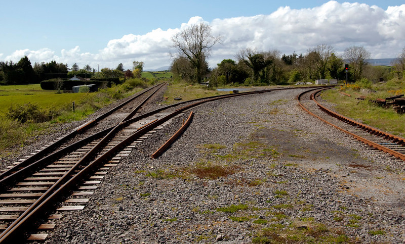 Manulla Junction, looking west, 9 May 2009 - 1621    The line to Westport is straight ahead, while that to Ballina diverges to the right.