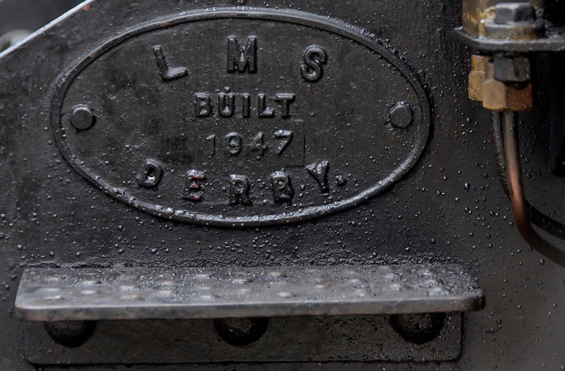 Builder's plate, No 4, 9 May 2009    Eighteen WT 2-6-4Ts were built by Derby between 1946 and 1950 for service in Northern Ireland on the 5 foot 3 inch lines operated by the LMS Northern Counties Committee.  The LMS had inherited the NCC system from the Midland.  The Midland had taken over the Belfast & Northern Counties Railway in 1903, when it was developing its Anglo-Irish services by building the new port at Heysham.