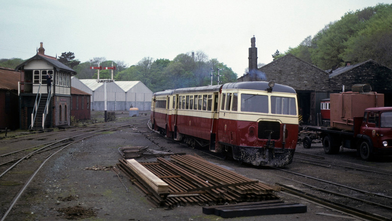 County Donegal railcars, Douglas, 28 May 1979.  Arriving from Castletown.  Photo by Les Tindall.