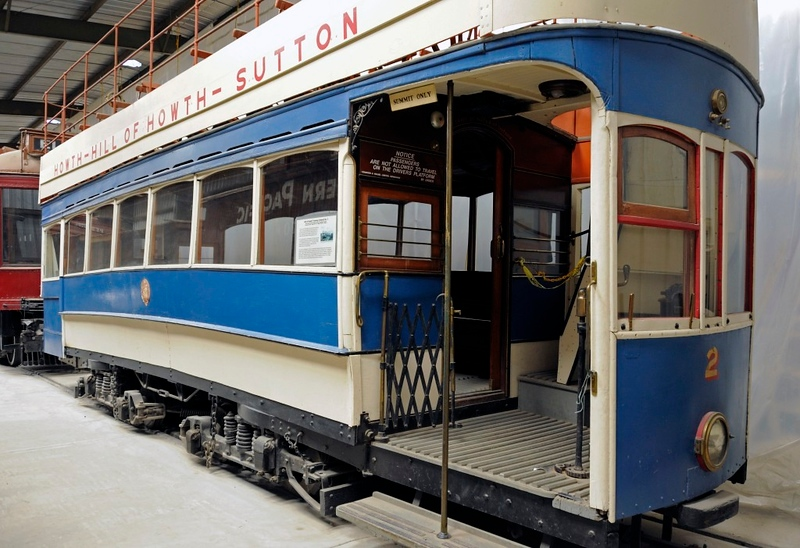 Hill of Howth Tramway No 2, Orange Empire Railway Museum, Perris, California, 28 April 2013 1.  Tram built in 1901 by Brush for the Great Northern Rly (Ireland)'s 5ft 3in gauge tramway north of Dublin.  Bought by the museum when CIE closed the tramway in 1959, and converted to 4ft 8.5in gauge in California.