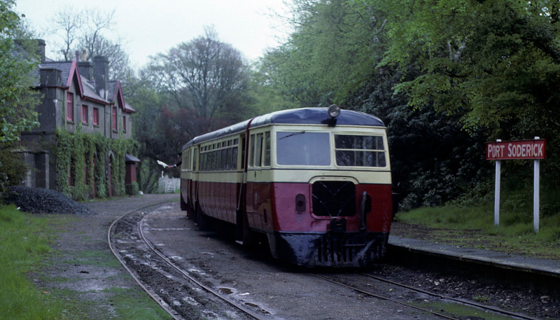 County Donegal railcars, Port Soderick, 28 May 1979.  NB the guard.   Photo by Les Tindall.
