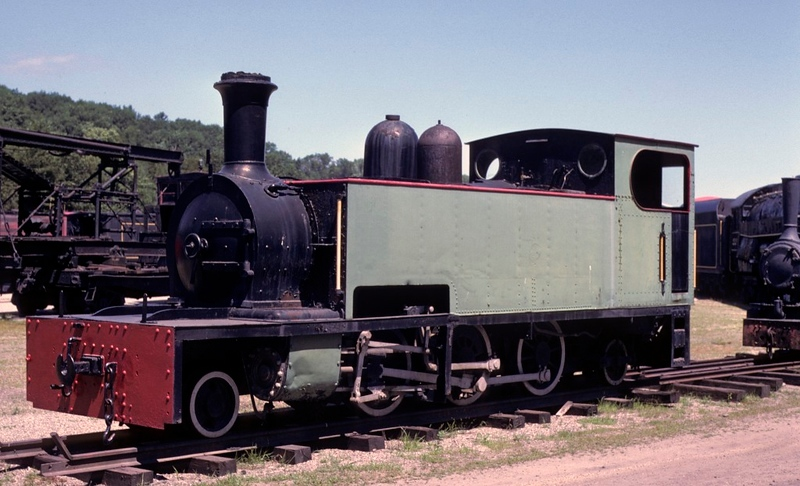 Tralee & Dingle Rly 2-6-2T No 5. Steamtown, Bellows Falls, Vermont, 25 July 1978.  Three fot gauge loco built by Hunslet (555 / 1982),   It moved to the Cavan & Leitrim in 1950, shortly before the Tralee & Dingle closed.  It  is seen preserved in the USA, but was subsequently repatriated to the revived Tralee & Dingle Steam Rly where it was under restoration in 2020.  Photo by Les Tindall.