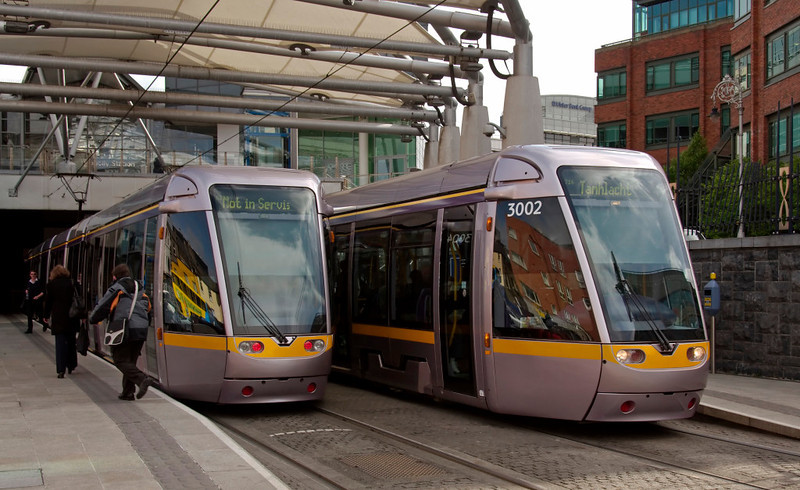 Luas Red Line Terminus, Connolly station, Dublin, 8 May 2009 2     A closer look at 3004 and 3002, which were built by Alstom.