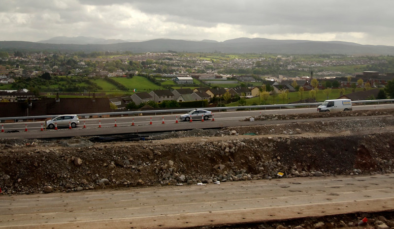 Dublin - Belfast M1 motorway construction site, north of Newry, 7 May 2009 - 1047    Looking east, with the Mountains of Mourne in the far distance.