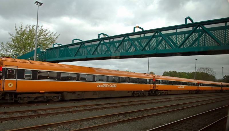 Mark 3 coaches, Dundalk, 7 May 2009 - 1030    A rake of loco-hauled coaches, built to the British Rail Mark 3 design albeit with powered doors.  They were built in the mid-80s at Derby or Inchicore, but have now been largely replaced by the Rotem class 22000 DMUs.