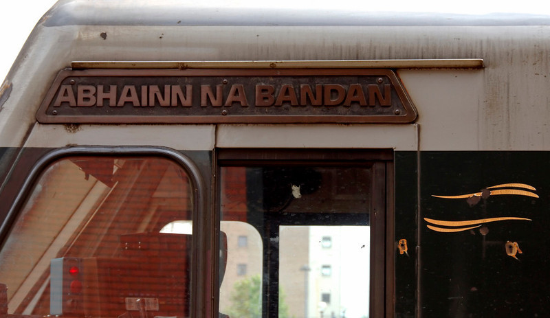 230 Abhainn na Bandan, Belfast Central, 7 May 2009 - 1146 2     A close-up of the nameplate.  (The name means River Bandan.)