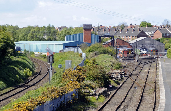 RPSI centre, Whitehead, County Antrim, Tues 15 May 2012.  Looking north.  The centre is alongside the Belfast - Larne line, and a 30xx DMU can just be seen at left heading towards Larne with the 1442 from Belfast Central.