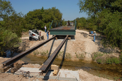Placing bridge across creek