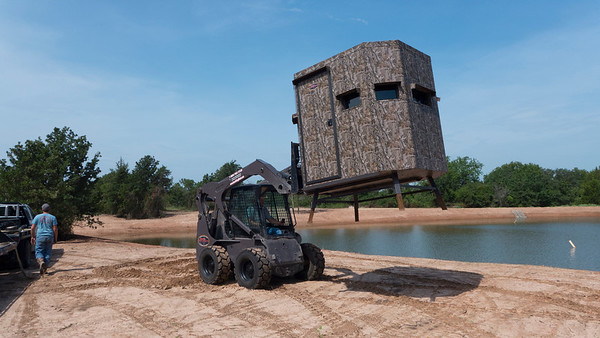 M&B Ranch King deer blind being placed on North Eagle Lake