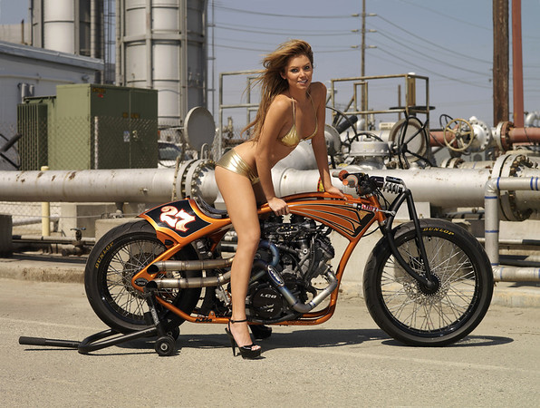 IL08.033. Jessie Rooke KTM 890cc V-twin powered Board Track Replica with Playboy Playmate Tamara Witmer.
