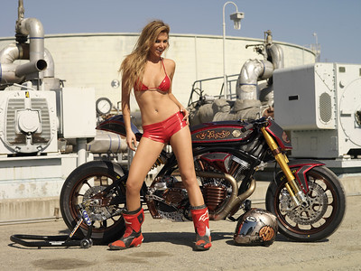 "Playboy Playmate Tamara Witmer with Roland Sands Big Twin Sportbike ""No Regrets"""