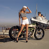 IL09.029. Roland Rands built KR Board Track Replica featuing a Kenny Roberts 990cc 5-cyclinder 200hp+ MotoGP engine. Photographed by Jim Gianatsis with Playboy Playmate Tamara Witmer at the historic Queen Mary I, Long Beach.