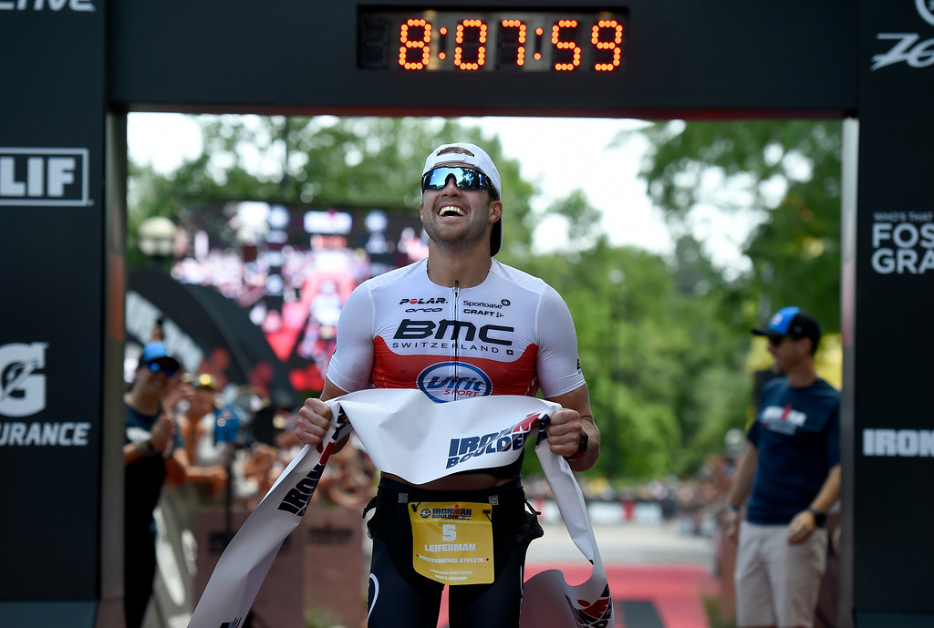 . Chris Leiferman crosses the finish line to win the 2018 Boulder Ironman race on Sunday in Boulder. For morep photos of the race go to www.dailycamera.com Jeremy Papasso/ Staff Photographer 06/10/2018