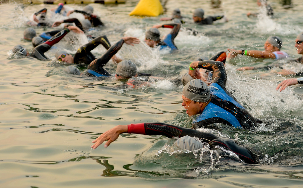 . Ironman Boulder Pro Men start the swim in Boulder, Colorado on June 10, 2018. (Photo by Matthew Jonas/Staff Photographer)