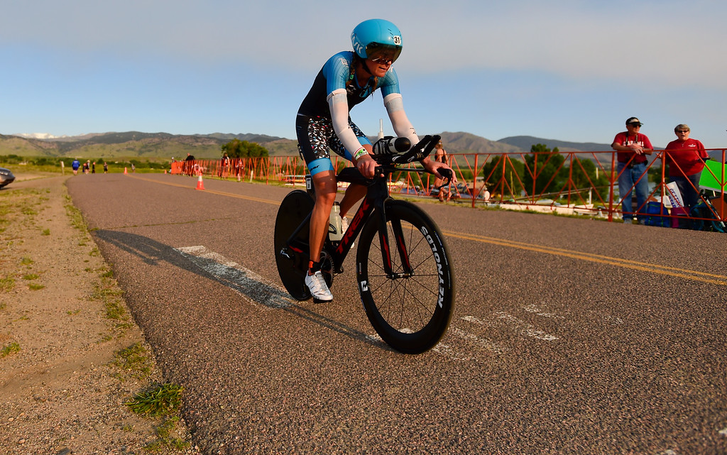 . Ironman Boulder Pro Women competitor Dede Griesbauer, of Boulder, starts the bike stage in Boulder, Colorado on June 10, 2018. (Photo by Matthew Jonas/Staff Photographer)