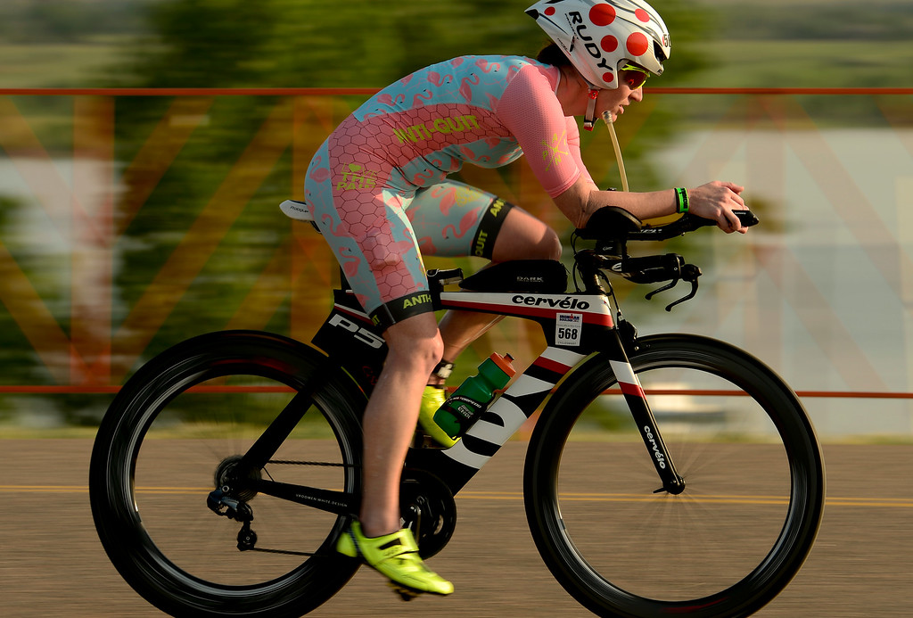 . Ironman Boulder Women 35-39 competitor Lynsey Fugate, of Kansas City, Missouri, starts the bike stage in Boulder, Colorado on June 10, 2018. (Photo by Matthew Jonas/Staff Photographer)