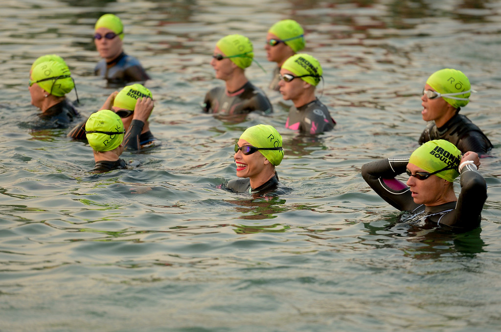 . Ironman Boulder Pro Women wait for the start of the swim stage in Boulder, Colorado on June 10, 2018. (Photo by Matthew Jonas/Staff Photographer)