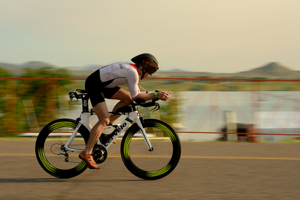 . Ironman Boulder Men 30-34 competitor Anthony Agnello, of Deland, Florida, starts the bike stage in Boulder, Colorado on June 10, 2018. (Photo by Matthew Jonas/Staff Photographer)