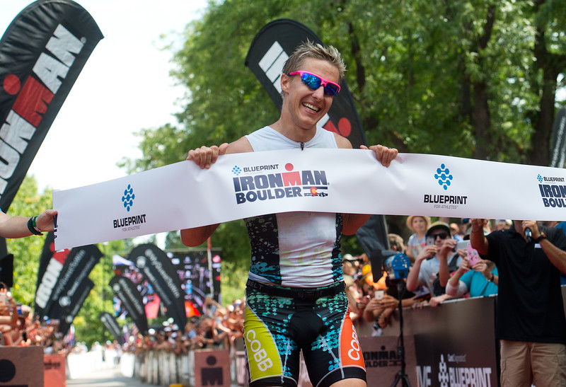 "Clay Emge, of Tyler, Texas, finishes first place overall in the 2016 Ironman Boulder at 8:39:59 on Sunday. <br /> More photos:  <a href=""http://www.dailycamera.com"">http://www.dailycamera.com</a><br /> (Autumn Parry/Staff Photographer)<br /> August 7, 2016"