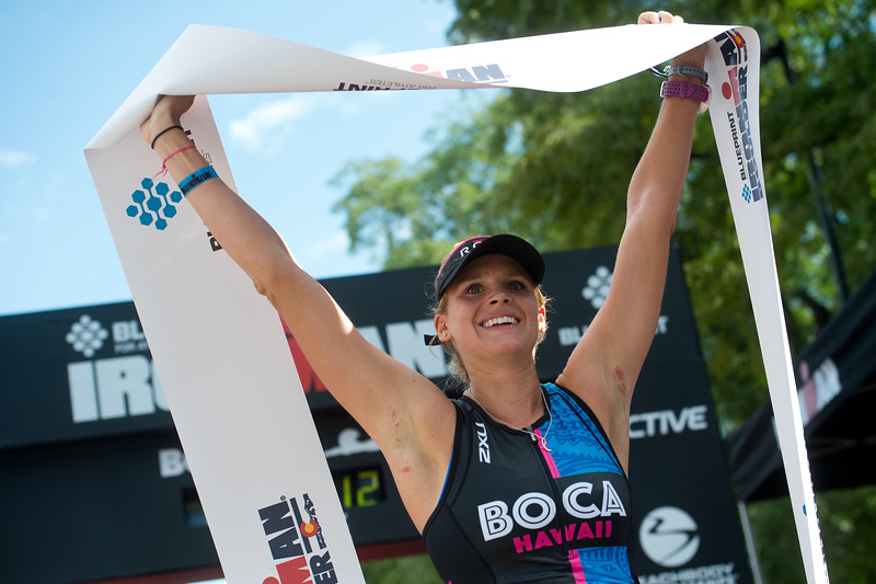 "Lectie Altman, of Kanoehe, Hawaii, finishes first place overall in the women's category of the 2016 Ironman Boulder at 10:01:09 on Sunday. <br /> More photos:  <a href=""http://www.dailycamera.com"">http://www.dailycamera.com</a><br /> (Autumn Parry/Staff Photographer)<br /> August 7, 2016"