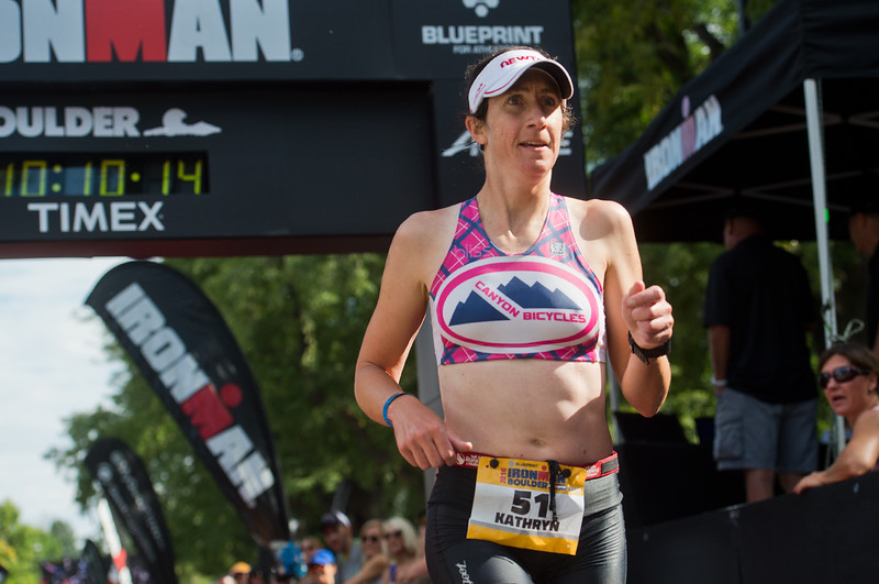 "Kathryn Throolin crosses the finish line of the 2016 Ironman Boulder at 10:10:03 on Sunday. <br /> More photos:  <a href=""http://www.dailycamera.com"">http://www.dailycamera.com</a><br /> (Autumn Parry/Staff Photographer)<br /> August 7, 2016"