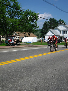 The first few miles of the bike course are through Lake Placid neigborhoods enroute to the big 5 mile downhill.  Key challenge here is watching out for other athletes and spectators - very lame to crash in the first 10 miles due to inattention!