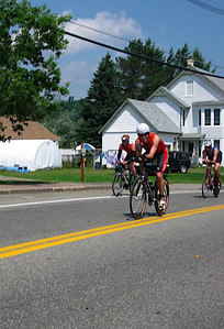 Peter heading out in the first 10 miles of the bike course through the outskirts of Lake Placid town.