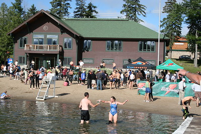 Triathletes at Mirror Lake beach