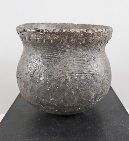 """Ceramic cooking pot, pre-contact.  4 1/4 x 4 1/2"""" (10.8 x 11.4 cm.)"""
