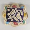 """Pin cushion, ca. 1880.   8 3/4 x 10"""" (22.3 x 25.4 cm.)"""