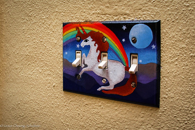 There are many artistic details everywhere, including this painted ight switch plate.