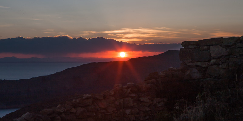 Sunset viewed from Isla del Sol, an island on Lake Titicaca, Bolivia